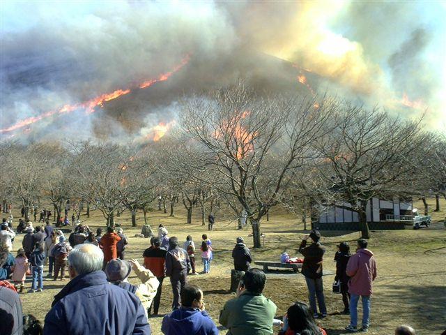 伝統ある大室山の山焼き 毎年2月の第2日曜日に行われる
